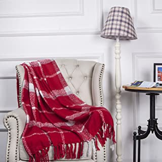 CozzyLife Home Decorations Red Super Soft Vintage Fluffy Plaid Throw Blanket-100% Acrylic Cashmere-Like Bedspread Sofa Cou...
