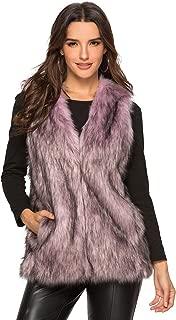 Escalier 女士人造毛皮背心腰上衣无袖夹克