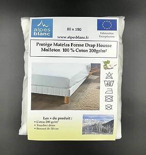 Alpes Blanc Protège Matelas 100% Coton 200gr/m² Forme Drap Housse/Protège Matelas Larges Bonnets Pur Coton (80_x_190_cm)