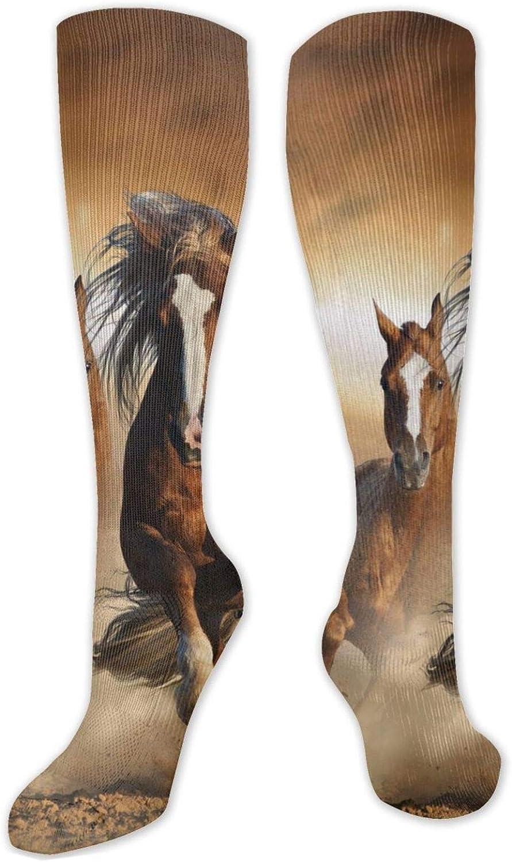 Wild Chestnut Horses Running Knee High Socks Leg Warmer Dresses Long Boot Stockings For Womens Cosplay Daily Wear
