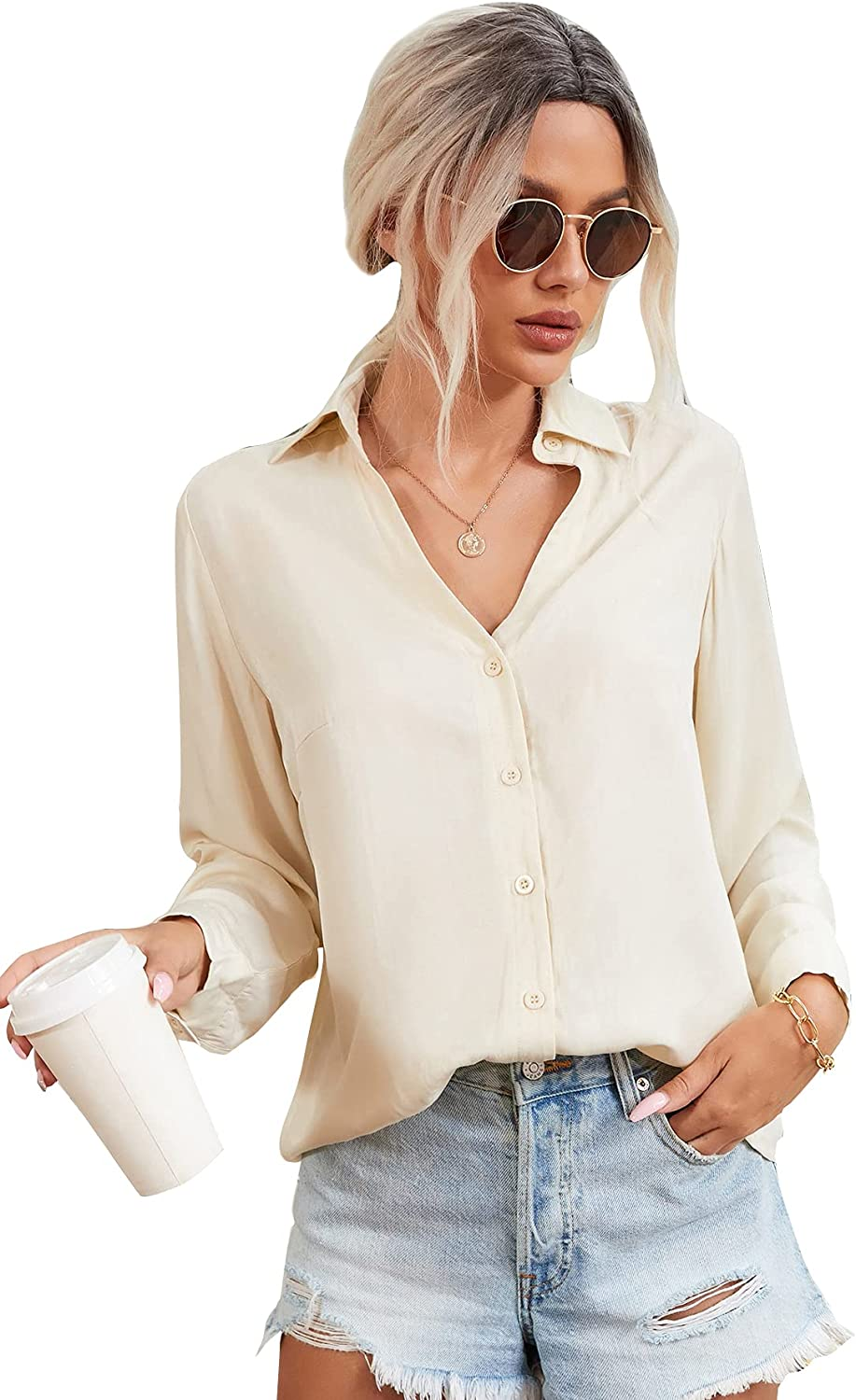 Milumia Women Button Down Collared Shirt Blouse Long Sleeve Work Office Solid Top