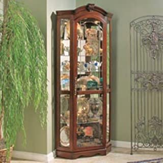 corner lighted curio cabinet