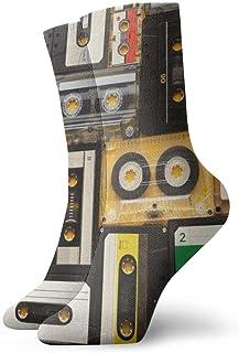Hunter qiang, Calcetines para mujeres y hombres, retro, casetes de audio sobre fondo beige. Draufsicht auf Vintage Media Devices Sportsocke 30 cm