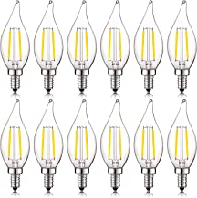 Luxrite 4W Vintage Candelabra LED Bulbs Dimmable, 400 Lumens, 4000K Cool White, LED Chandelier Light Bulbs 40W Equivalent, Flame Clear Glass, Filament LED Candle Bulb, UL Listed, E12 Base (12 Pack)