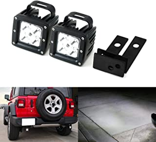 iJDMTOY Rear Bumper Searchlight Reverse LED Pod Light Kit For 2018-up Jeep Wrangler JL, Includes (2) 20W High Power CREE LED Pods, Rear Bumper Frame Mounting Brackets & Wiring Relay Harness