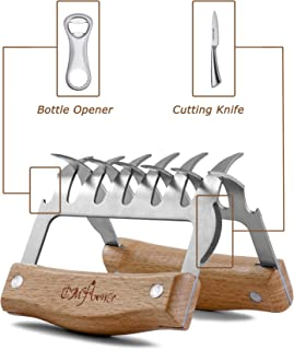 CMflower Metal Claws Stainless Steel Meat Shredder Forks Wood Handle Cutting Knife Bottle Opener Barbecue Tool Set for Shredding Pulling Lifting BBQ Meat Wood