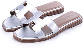 Sandals Women Luxury Slipper Genuine Cow Really Leather Lady Shoes H Flats Slippers Women fashiona