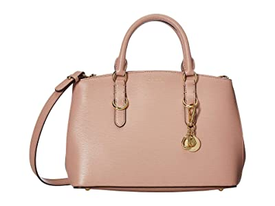 LAUREN Ralph Lauren Bennington Saffiano Zipped Satchel (Mellow Pink) Satchel Handbags