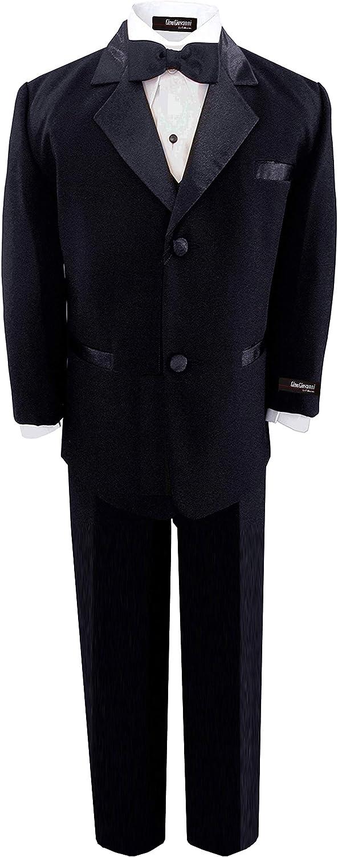 Baby Boys BLACK 5 Piece Deluxe Tuxedo - Suit TODDLER Sizes (Toddler 2T)