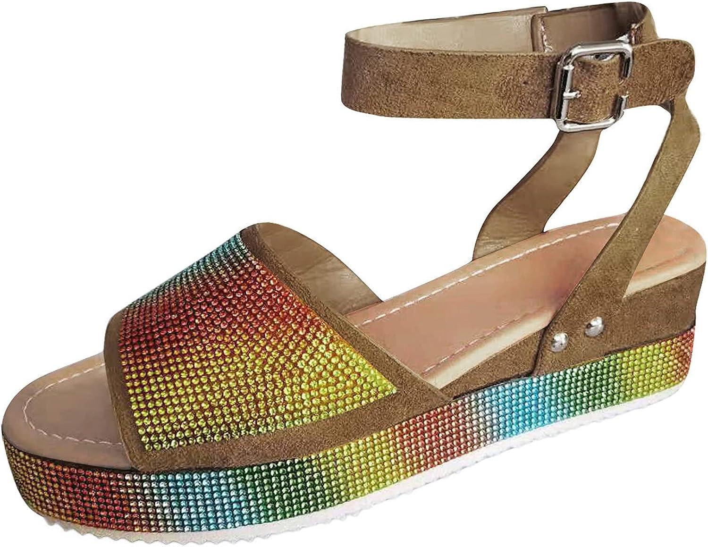 USYFAKGH Platform Sandals For Women Womens Summer Wedgr Crystal Rhinestone Buckle Strap Sandals Outdoor Shoes