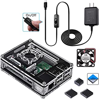 Smraza Raspberry Pi 3 B+ Case with Fan, 3 Pcs Heatsinks, 2.5A Power Supply for Raspberry Pi 3 Model B+, Compatible with Raspberry Pi 3 Model B, Raspberry Pi 2 Model B