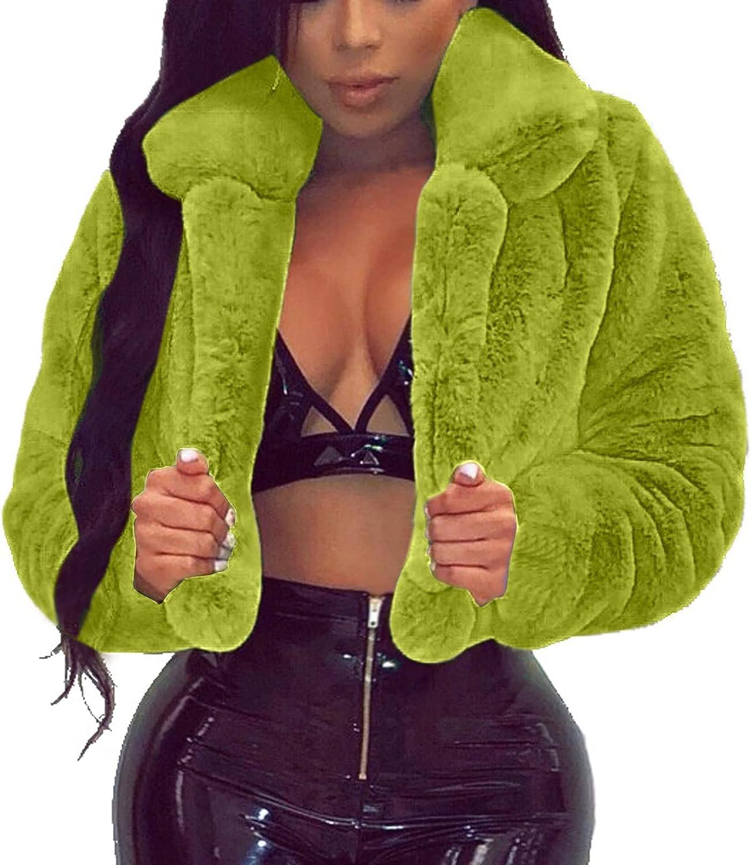 Women's Cropped Coat Fluffy Fleece Turn-Down Collar Faux Furs Ja
