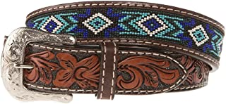 Mens Brown Belt With Blue And Turquoise Beading
