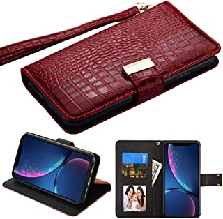 PU Leather Purse Clutch Wallet Case Fits Apple iPhone XR / 9 MYBAT Crocodile-Embossed MyJacket Burgundy