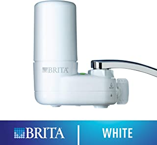 Brita Tap Water Filter System, Water Faucet Filtration System with Filter Change Reminder, Reduces Lead, BPA Free, Fits Standard Faucets Only - Basic, White