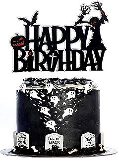 Halloween Happy Birthday Cake Topper - Spooky Skeleton Tree Black Glitter Cake Topper - Adult Kids Horror Birthday Party -...