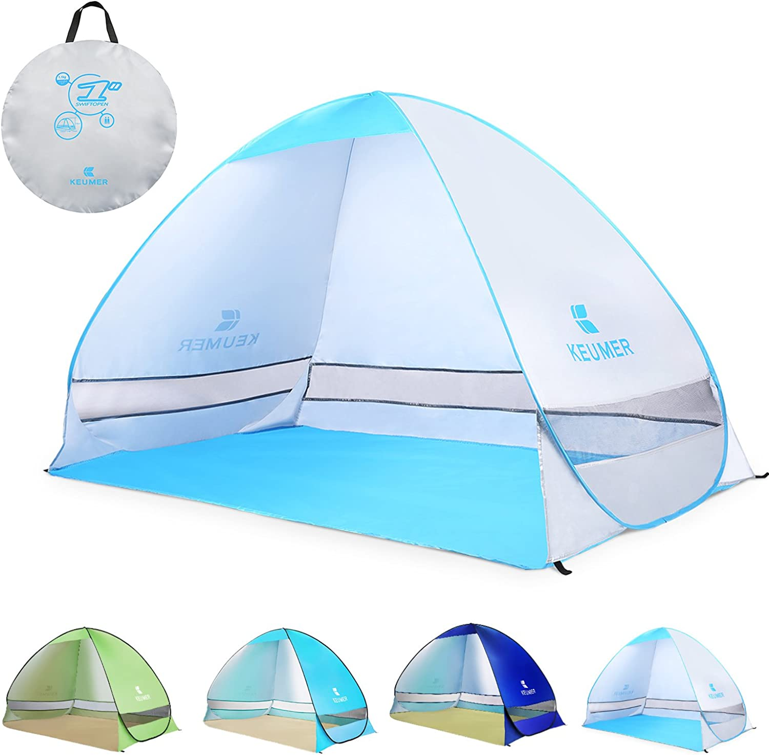 Onetouch tent popup tent for 3 to 4 people for BATTOP sunshade tent 95% UVcut waterproof and breathable camping tent beach tent outdoors compact instant open with a storage bag (Silver)