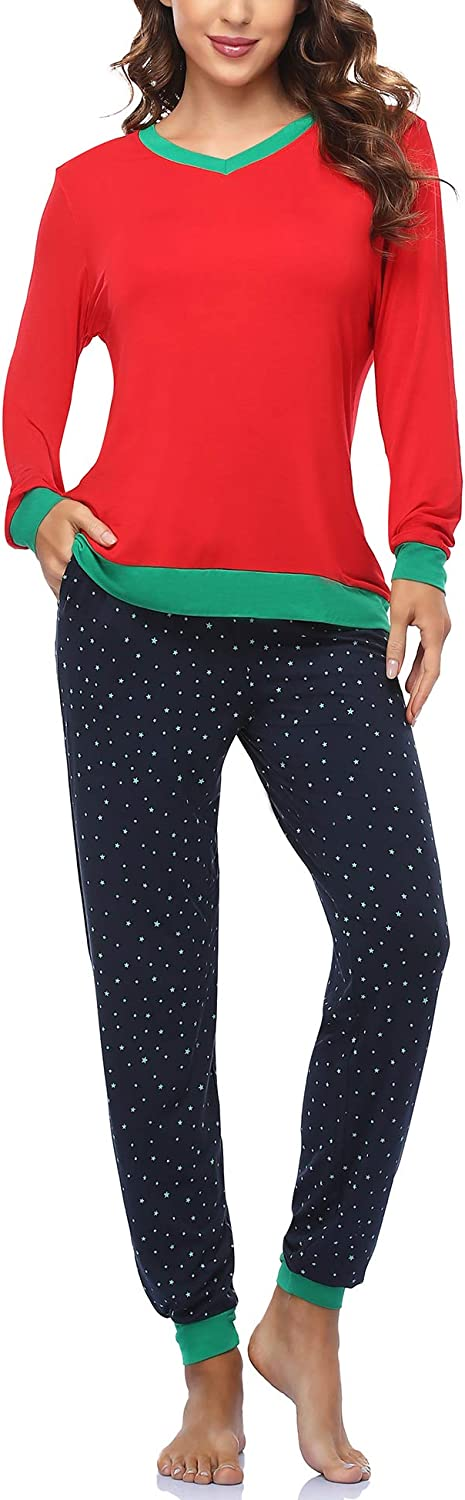 COLORFULLEAF Womens Cotton Pajama Set Christmas Striped Henley Pjs Fitted Pants