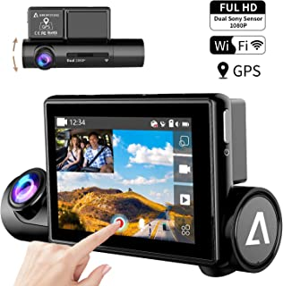 "Dash Cam 3.0"" OLED Touch Screen Dual 1080P FHD Front and Inside Dash Camera for Cars-WiFi GPS Car Driving Recorder with Sony Night Vision Sensor 170° Wide Angle WDR G-Sensor Anoopsyche"