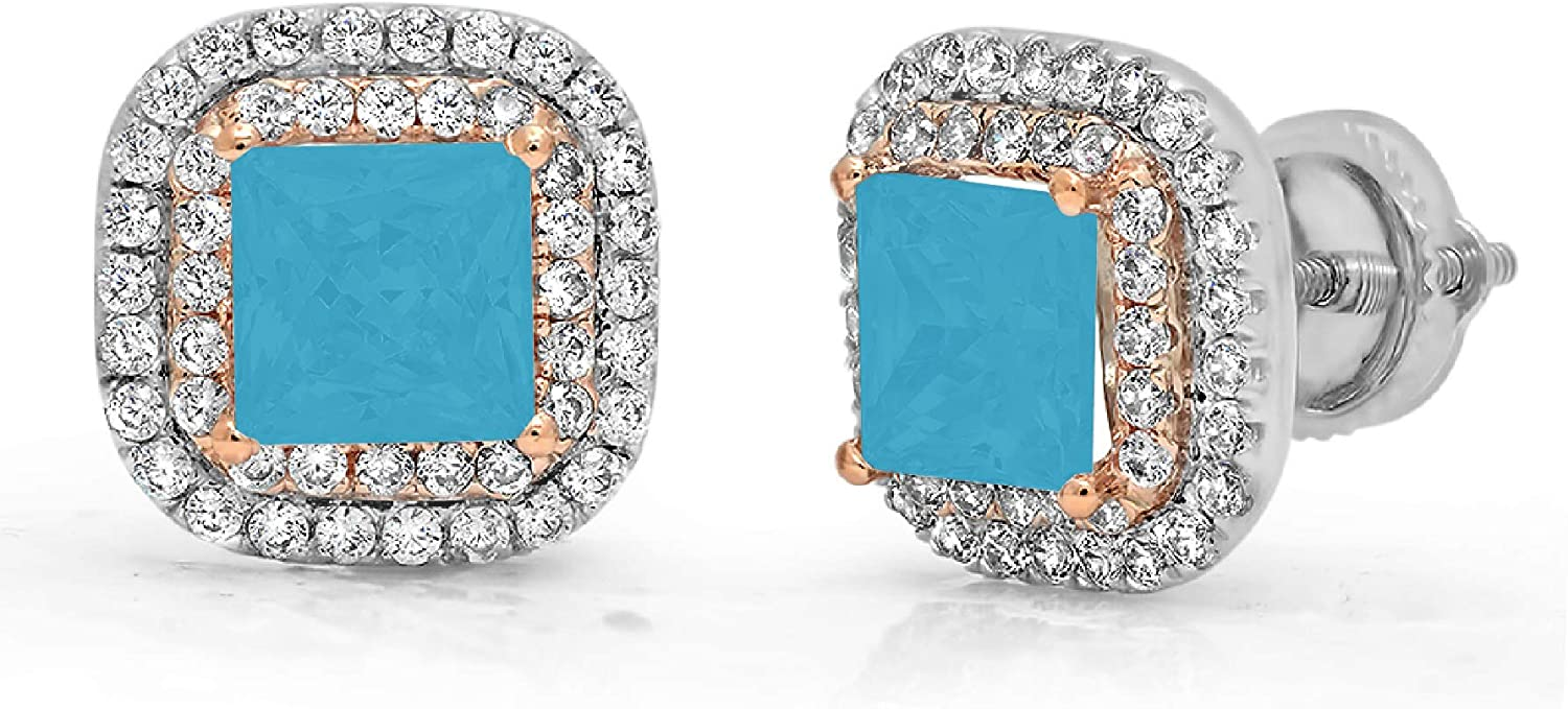 2.52 ct Brilliant Princess Round Cut Double Halo Solitaire Flawless Genuine Simulated CZ Blue Turquoise Gemstone VVS1 Ideal Pair of Solitaire Stud Screw Back Designer Earrings 14k 2 tone Gold