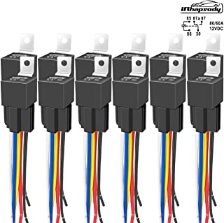 IRHAPSODY 12 Pack 80/60 AMP 12 V DC Relay and Harness - Heavy Duty 12 AWG Tinned Copper Wires, 5-PIN SPDT Bosch Style Automotive Relay