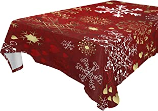 "Naanle Christmas Holiday Rectangle Tablecloth 54""(W) x 72""(L), Christmas Red Gold Snowflakes Modern Table Linen Cloth Cove..."