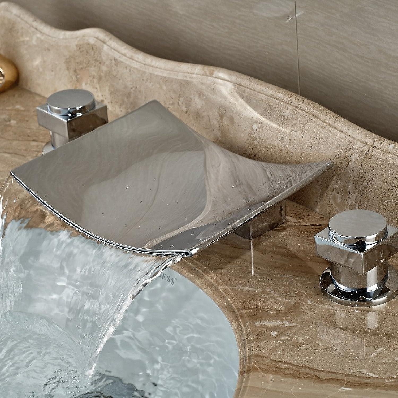 Maifeini Chrom Poliert Wasserfall Auswurfkrümmer Deck Badezimmer Waschbecken Serie Breiten Mesh Mischbatterie