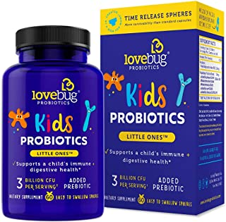 Lovebug Little Ones Probiotics for Kids, 60 Easy-to-Swallow Tiny Pearls, Children's Patented Time Release Probiotics Supplement (60)