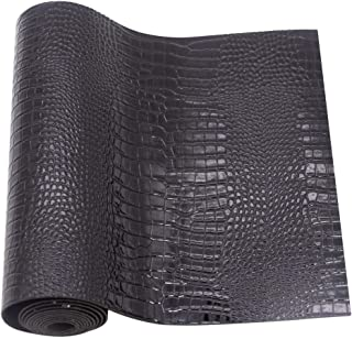 Crocodile Pattern Faux Leather Fabric Sheet Solid PU Synthetic Leather, Assorted Colors DIY Craft Leather 9''x53'' (Black)