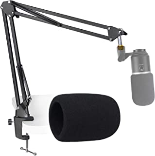Fifine K670 USB Mic Boom Arm with Foam Windscreen, Suspension Boom Scissor Arm Stand with Pop Filter Cover for Fifine K670...