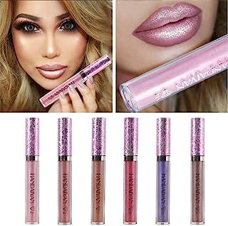 6 brillos de labios con purpurina brillantes en color nude resistentes al agua