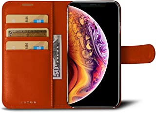 Lucrin - Wallet Flip Case Compatible with iPhone Xs/iPhone X and Wireless Charging - Orange - Genuine Leather