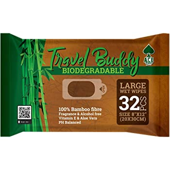 "Ace Travel Buddy Large Body Wet Wipes Biodegradable - No Rinse Bath Or Shower Bamboo Wipe - Gym, Travel, Camping, Backpacking, Hiking, Pets, Festival Essentials/Accessories, 32 Wipes(8""X12""/20X30CM)"