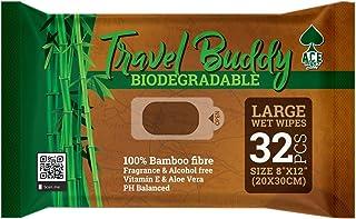 Ace Wipes Travel Buddy - Toallitas húmedas de bambú, Grandes y biodegradables, Acampar, Viajar, IR de Vacaciones, Llevar a Festivales 32 toallitas en un Paquete