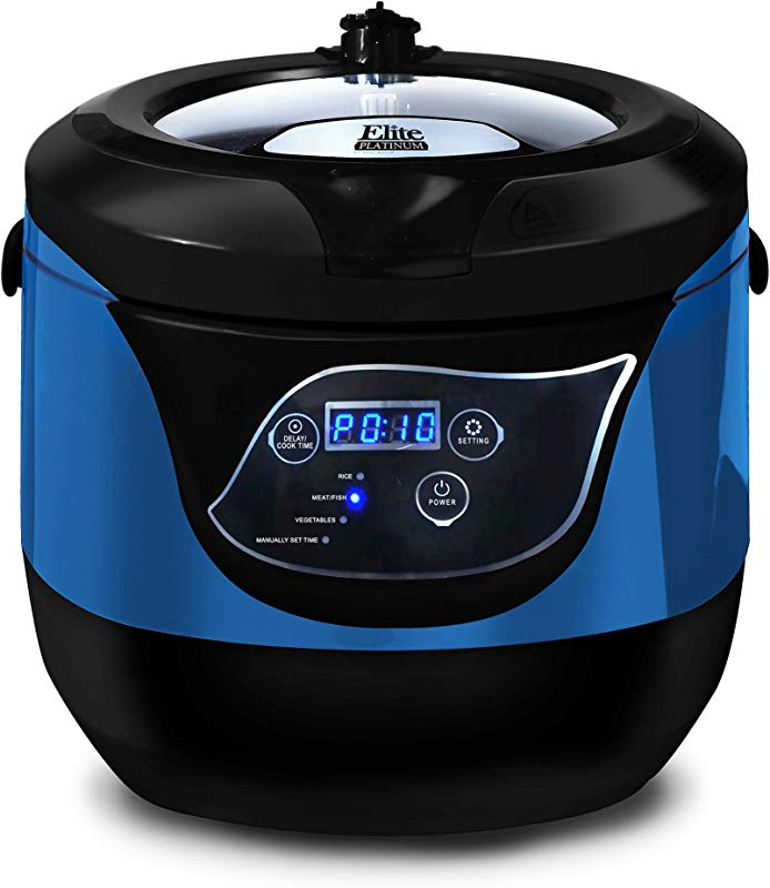 Elite Platinum EPCM 55BL Electric Digital Programmable Rice Cooker Steamer Multicooker Delay Timer Energy Saving With Tempered Glass Lid And Non Stick Pot 20 Cups Cooked Rice Blue