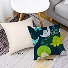 Linen Fabric Decorative Throw Pillow Cover Case with Invisible Zipper for Sofa Bench Cute Dino Print On Behance 16inch 16inch