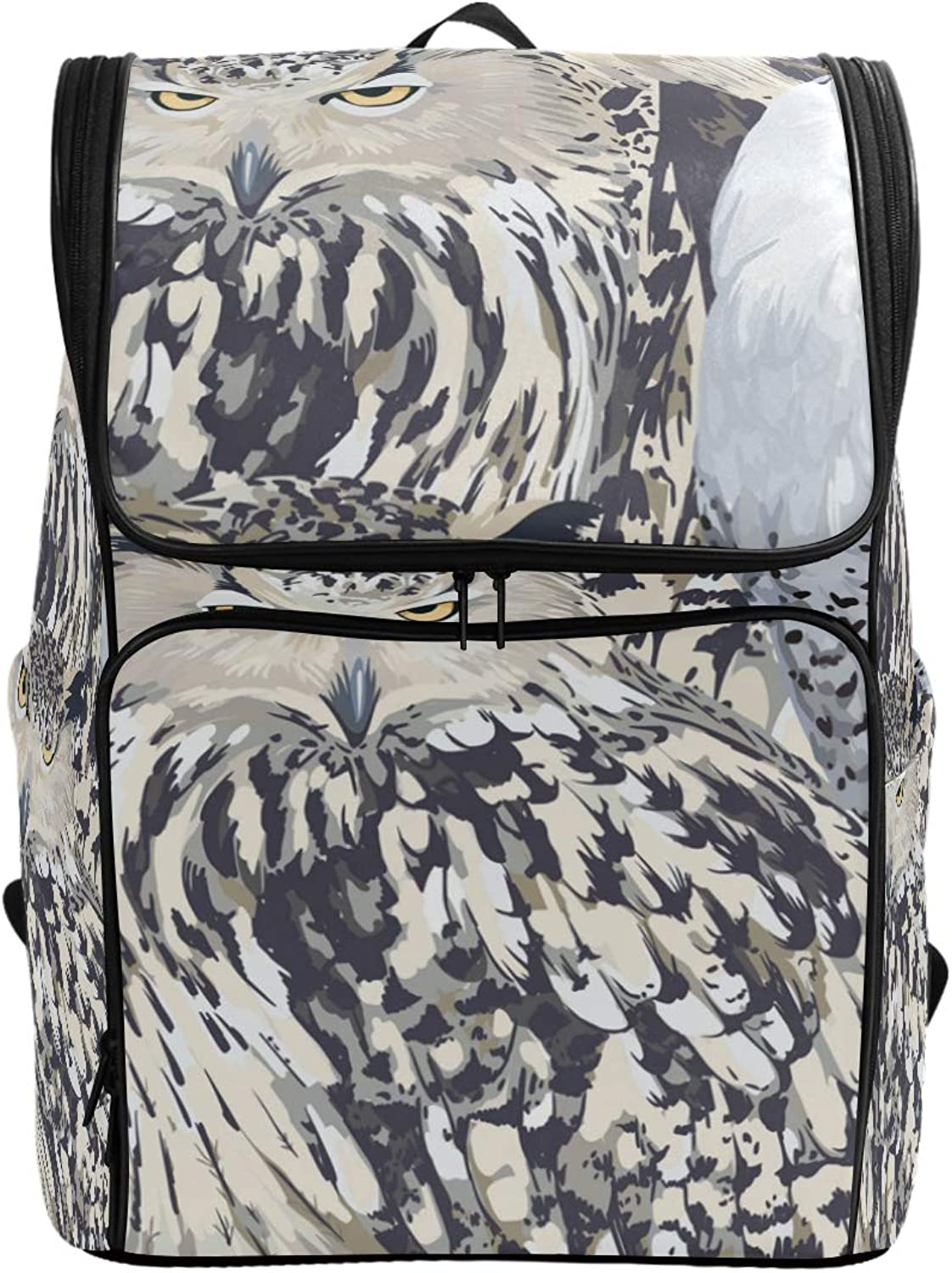 FANTAZIO Eagle Owl and Polar Laptop Outdoor Backpack Travel Hiking Camping Rucksack Pack, Casual Large College School Daypack