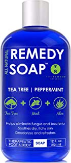 Remedy Antifungal Soap, Helps Wash Away Body Odor, Athlete's Foot, Nail Fungus, Ringworm, Jock Itch, Yeast Infections and Skin Irritations. 100% Natural with Tea Tree Oil, Mint & Aloe 12 oz