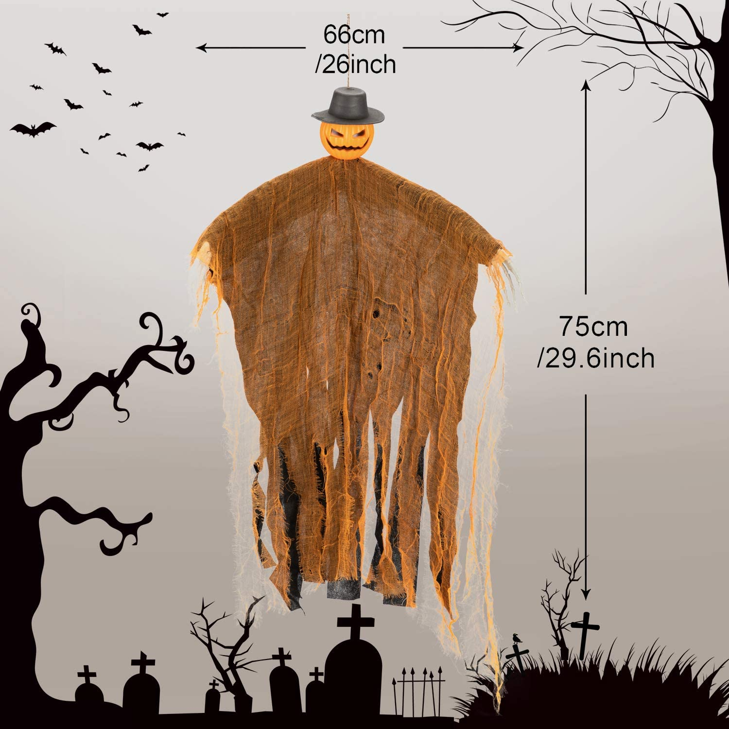 LessMo Halloween Hanging Ghost Scary Halloween Props for Front Yard Patio Lawn Garden Party D/écor and Holiday Decoration Hanging Skeleton Ghost Halloween Decorations