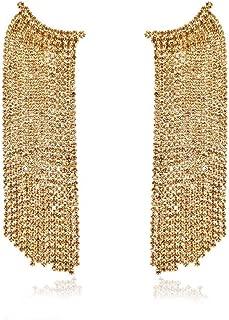 UncleJ 14K Gold Plated Cubic Zirconia Waterfall Tassel Dangle Drop Earrings for Women | Wedding | Gifts(Golden,Sliver)