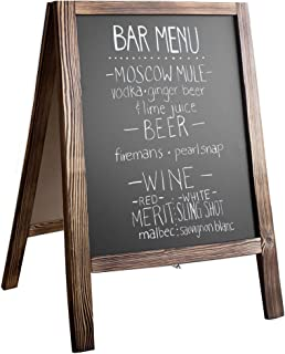 Wooden A-Frame Sign with Eraser & Chalk - Magnetic Sidewalk Chalkboard – Sturdy Freestanding Stained Wood Sandwich Board Menu Display for Restaurant, Business or Wedding