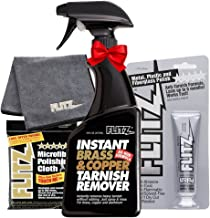 Flitz BC 01806 Instant Brass and Copper Tarnish Remover 16 oz Spray Cleaner + 1.79oz Metal Polish Paste + EXTRA LARGE Microfiber Cloth Shine Away Corrosion