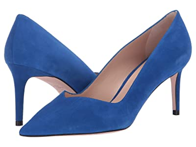 Stuart Weitzman Anny 70mm Pointy Toe Pump (Royal Blue Suede) Women