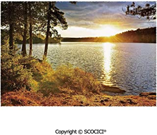 SCOCICI Washable,Non-Fading,Non-Stain,Wipe Clean,Dries Quickly Place mat Sunset Dawn in The Forest Over Lake of Two Rivers Algonquin Park Ontario Canada Prefect for Use in Holiday, Home Parties, Fami
