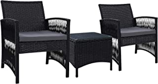 Gardeon 3 Piece Outdoor Sets Garden Patio Furniture Wicker Table and Chairs
