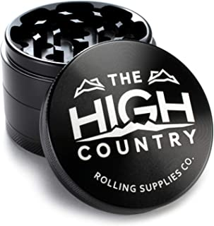 """HIGH COUNTRY GRINDERS Best Herb Grinder 2.5"""" Large 4-Piece Anodized Aluminum Grinder with Pollen Catcher - Black"""