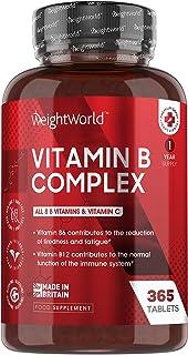 Vitamina B Complex 365 Comprimidos Alta Concentración Vitaminas del Grupo B Vegano - Complejo Vitamínico B Enriquecido con...