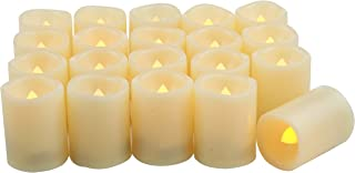 20 Small Battery Operated Flameless LED Votive Candles Realistic Flickering Fake Electric Tea Lights Set Bulk Baptism Wedding Party Decorations Kitchen Home Decor Table Centerpieces Batteries Incl.