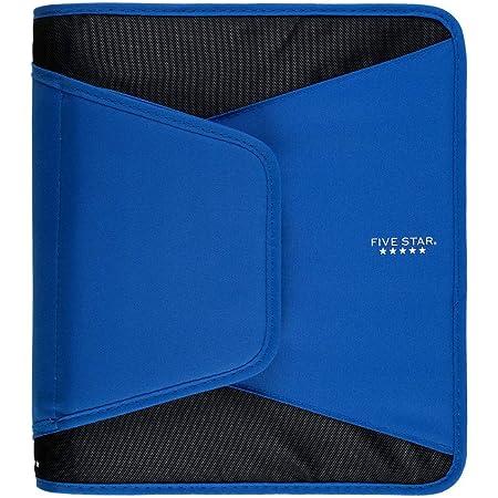 Five Star 1-1/2 Inch Zipper Binder, 3 Ring Binder, 3-Pocket Expanding File, Durable, Blue (72202)