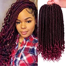 6Pcs/Lot Faux Locs Straight Crochet Hair Goddess Locs Crochet Hair with Curly Ends 16 Inch Synthetic Prelooped Crochet Twist Hair Extensions(1B/Bug#)